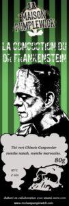 Etiquette du thé vert à la menthe Frankenstein